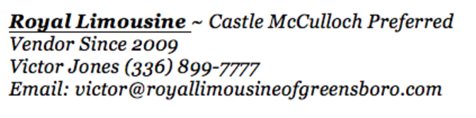 Royal Limo ~ Preferred Vendor Castle McCulloch