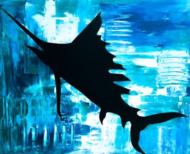 sailfish art, sailfish decal, sailfish painting, sealife artist,sailfish sticker,ei nc sticker, emerald isle nc sticker, nc sticker, bogue banks nc, nc artist, barry knauff, cape careret nc sticker, emerald isle nc, shark sticker, ei sticker, morehead city sticker, morehead city decal, morehead city blue marlin sticker