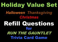 Holiday Trivia Cards Value Set for RUN THE GAUNTLET game
