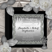 Faux diamonds and silver tone gradient on black elegant square personalized 10th wedding anniversary invitations