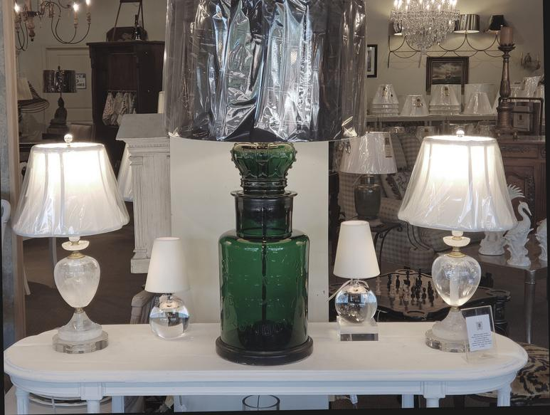 authentic french greeb glass table lamp large flanked by 2 crystal and 2 crystal quartz rock table lamps
