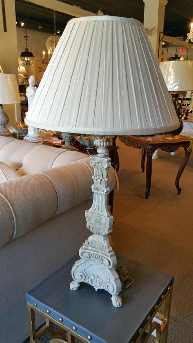 New Italian style table lamp large with custom bespoke pleated pleats shade distressed, shabby chic
