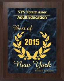 best NY Notary Classes Award 2015 NYS Notary Association