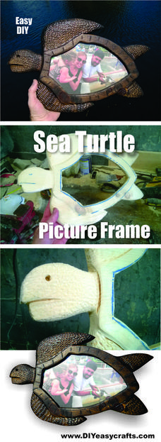 How to make a hand carved Sea Turtle picture frame. Check out all of our nautical DIY craft ideas. www.DIYeasycrafts.com