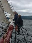 Jeanette out on the bowsprit of the Lewis R. French over Moxy Reef