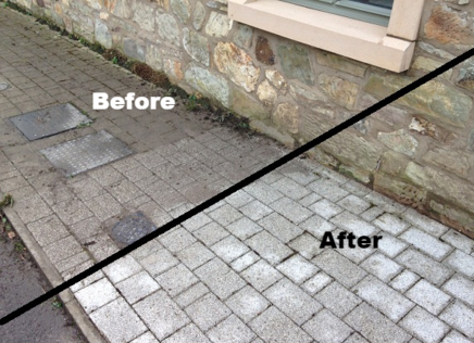 before and after pic of a pressure washed pathway