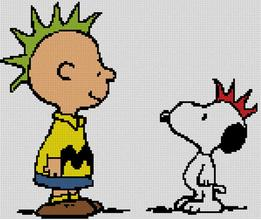 Cross Stitch Chart of Charlie Brown and Snoopy as Punks