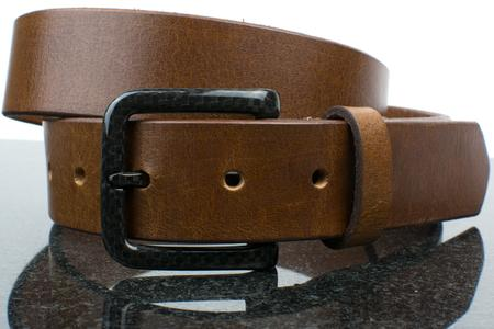 Travel necessity - metal free belt with versatile combination of brown strap and carbon fiber pin buckle