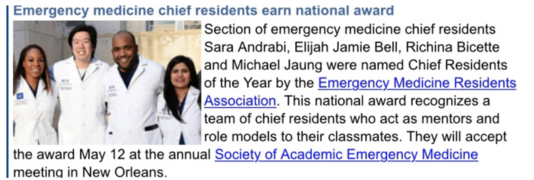 Sara's Chief Resident of the Year Award