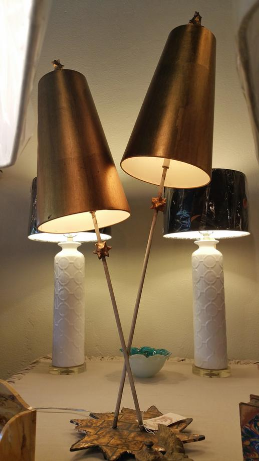 Flambeau Art Table Lamp with 2 Metal shades and plaster centers on metal base New Orleans