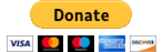 Black and yellow donate button with visa, mastercard, discover, american express, mastro cards