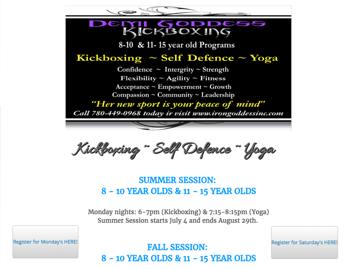 Demi Goddess Kickboxing, Kids, yoga, Lifestyle, keep active, self-defence, Sherwood park