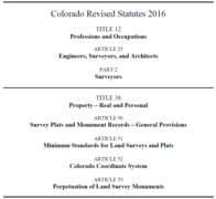 2016 Colorado Professional Land Surveyors Practices Act