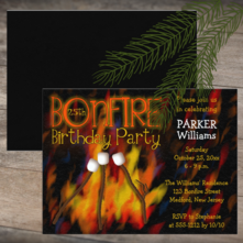 Rustic Marshmellows Roasting on a Bonfire Birthday Party Invitation for Him