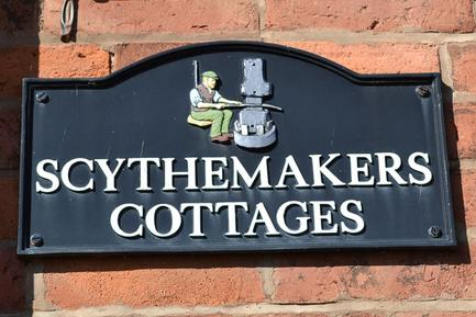 Scythemakers Cottages wall name plate