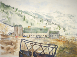 Barn and Snow, Tracy Harris Watercolor Artist, Limited Edition Giclee Available