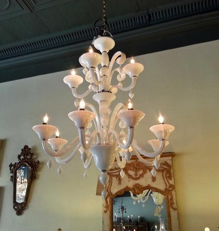 Custom bespoke murano glass chandelier for large office, venures, churches, hotels and residences