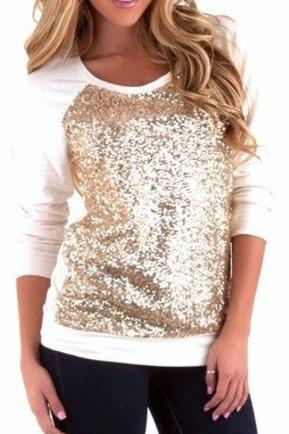 Ivory Gold Glitter Sweater