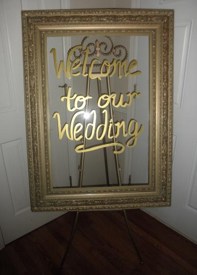 Gold frame acrylic signage for your wedding day.