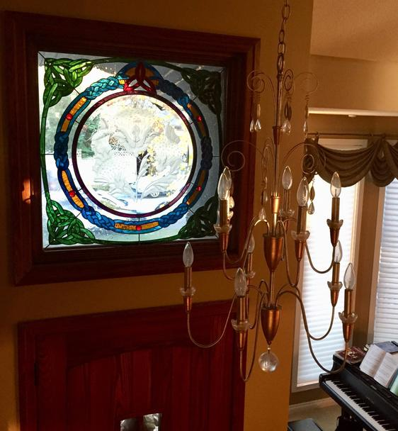 Custom stained glass window, celtic knot, scottish thistle, sandblasted glass, etched glass, calgary artist