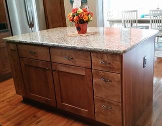 Santa Cecilia Granite Kitchen Island Countertop with Half Bullnose edge made in Delaware.