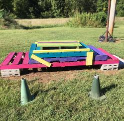 Colby's Army photo of colorful, sustainable pallet mounting block