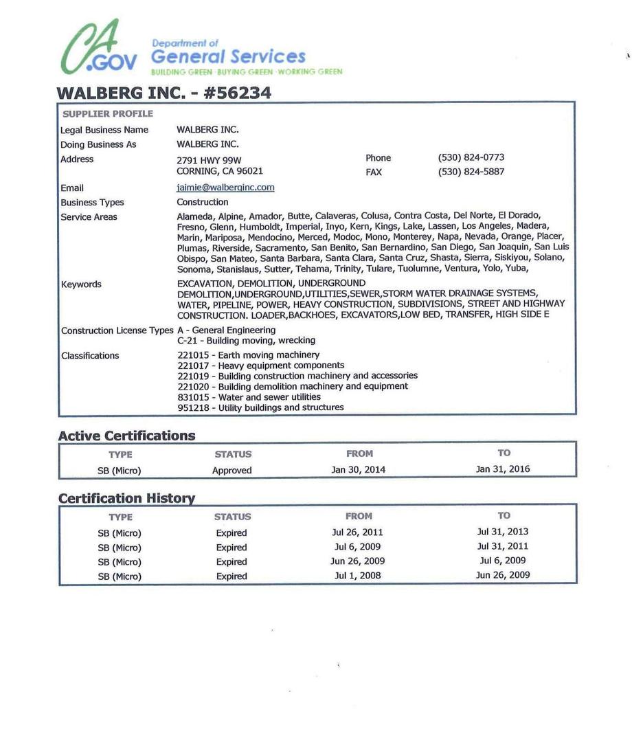 Walberg Inc Corning Ca