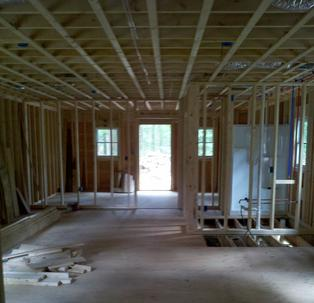 framing the interior of a new house by Adelphia Contracting