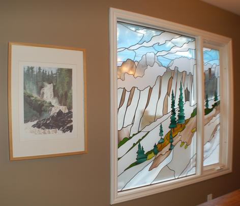 stained glass calgary, art glass, leaded glass, custom sandblasted glass, frosted glass, calgary artist