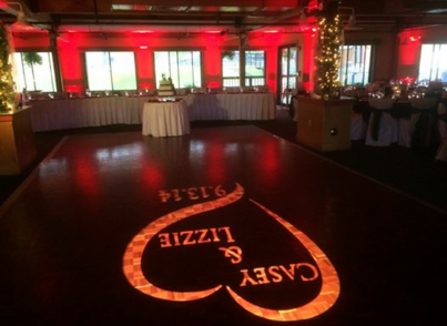 Wedding Uplighting and Monogram at Wachusett Ski area