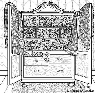 Paula pertile illustration drawings of knitting for Debbie macomber coloring book pages