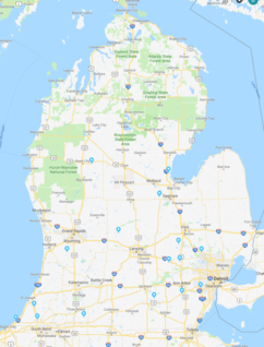 Michigan Map with locations of all IDPA clubs