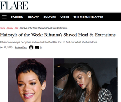 rihanna hair extensions, flare magazine, hair extensions toronto, doll bar