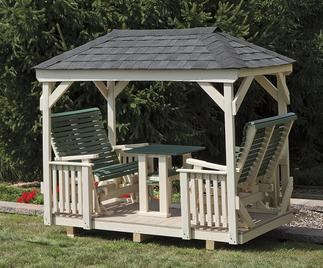 Gazebo with built-in rocking benches.