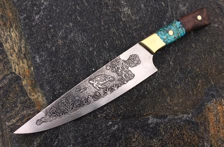 Sea Turtle metal etched custom chef knife by Berg knifemaking. FREE how-to instructions from www.DIYeasycrafts.com