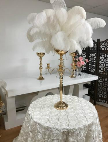 Centerpiece Rental Flowers Ostrich Feathers Crystals Candelabras
