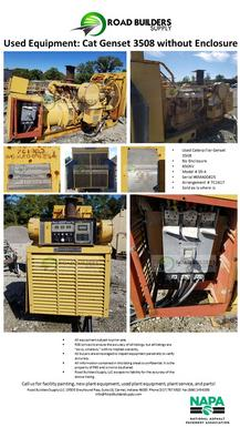 Used Caterpillar Genset 3508 No Enclosure 650KV Model # SR-4 Serial #6MA00825 Arrangement # 7C1617 Sold as is where is