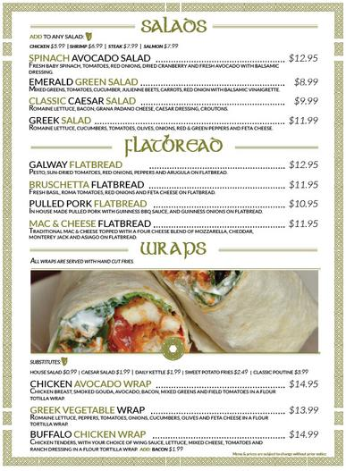 Keenan's Irish Pub Salads, Flatbreads and Wraps