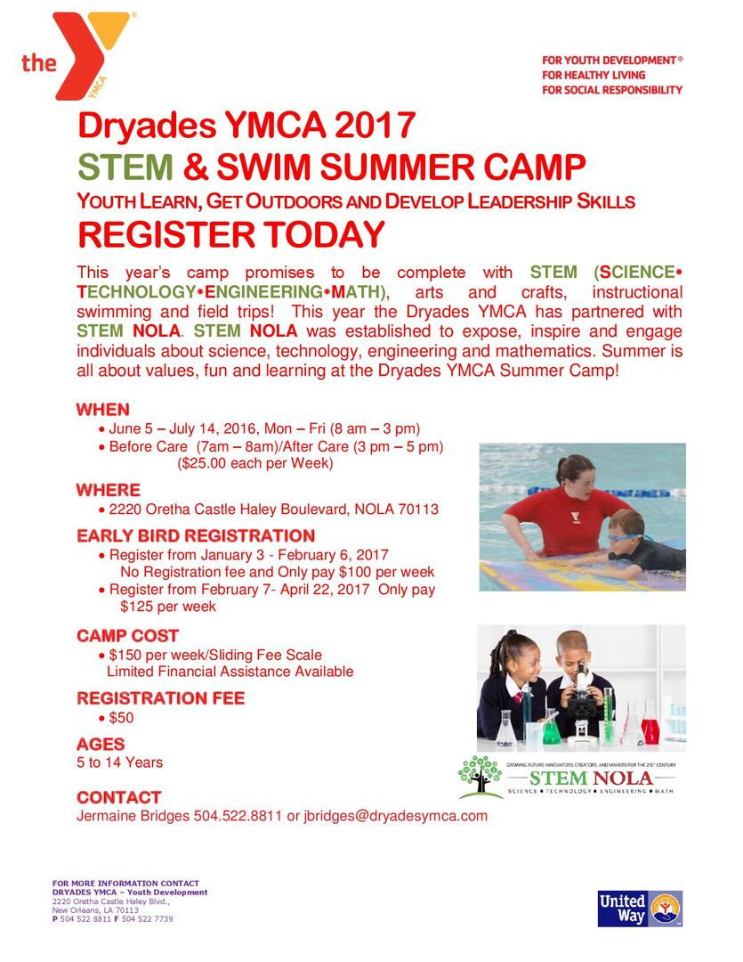 Picture of the Stem and Swim Summer camp flyer. PDF link is on this page