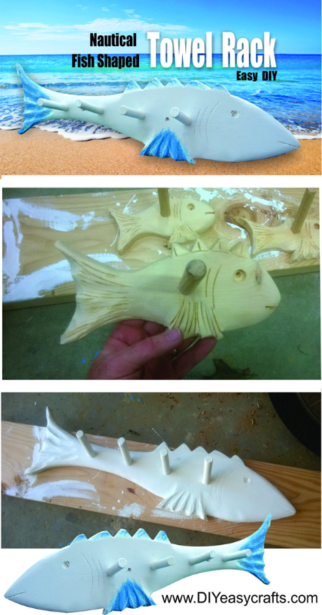 DIY Beach Decor Fish Shaped Towel Rack. www.DIYeasycrafts.com