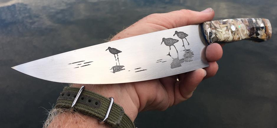 Sea Bird etched custom chef knife with sea shell handles. Nautical Metal Etching. FREE Step by step instructions from www.DIYeasycrafts.com