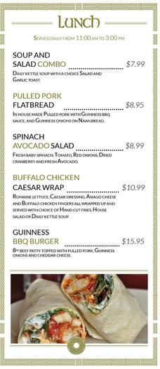 Keenan's Pub Lunch Menu