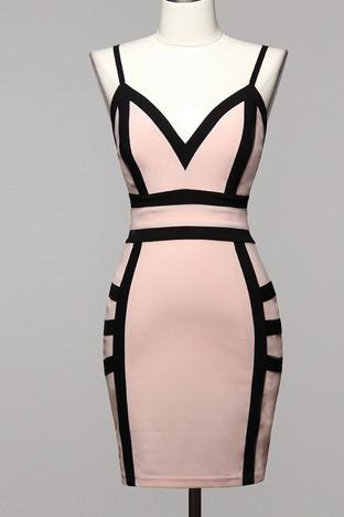 Pink Black Bodycon Dress