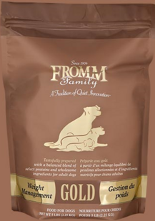 FROMM Weight Management Gold Dry dog food available in 33, 15 and 5 pound bags