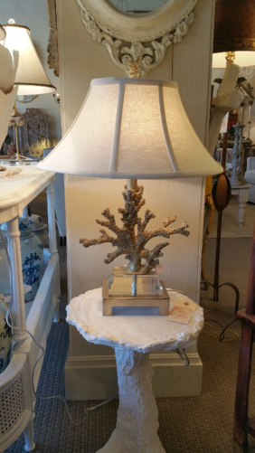 Coral style table lamp new with gold paint, new on glass and metal base with custom bespoke linen shade