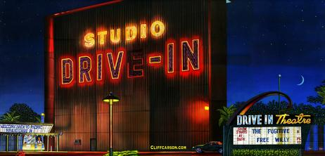 Culver City California STUDIO DRIVE IN THEATRE acrylic on canvas by CLIFF CARSON