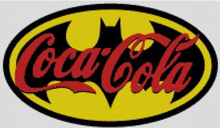 Cross Stitch Chart Pattern of Coca Cola and Batman logo mash
