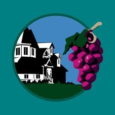 Logo For Home & Vine. House and Grape cluster.