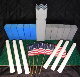 www.kubb.games plastic colorful kubb sets made in the USA - Swedish game - viking game - fun game - new game - plastic kubb - wood kubb - Classic Plastic Kubb - blue gray
