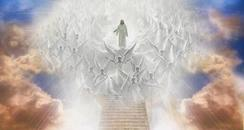 Image of heaven with Christ standing at top of staircase with Angels all around.